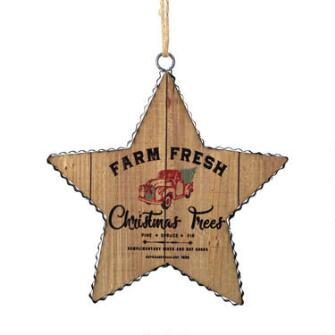 Farm Fresh Wood Star Orn - 6006839