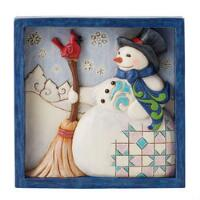 Snowman with Broom Plaque - 6009565